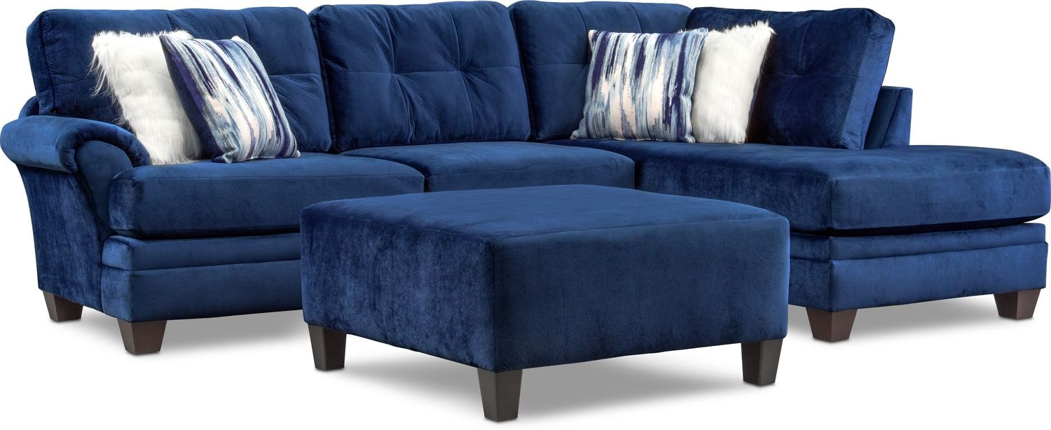 Chaise Cocktail Cordelle 2 Piece Sectional With Chaise And Cocktail Ottoman Set