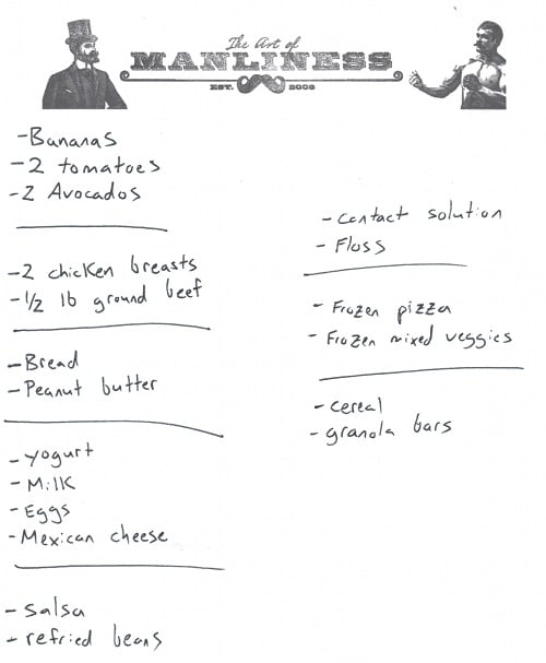 How to Grocery Shop Like a Pro The Art of Manliness - sample shopping list
