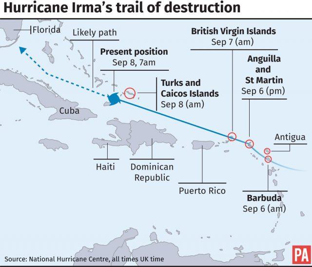 British territory \u0027pummelled\u0027 as Hurricane Irma continues trail of