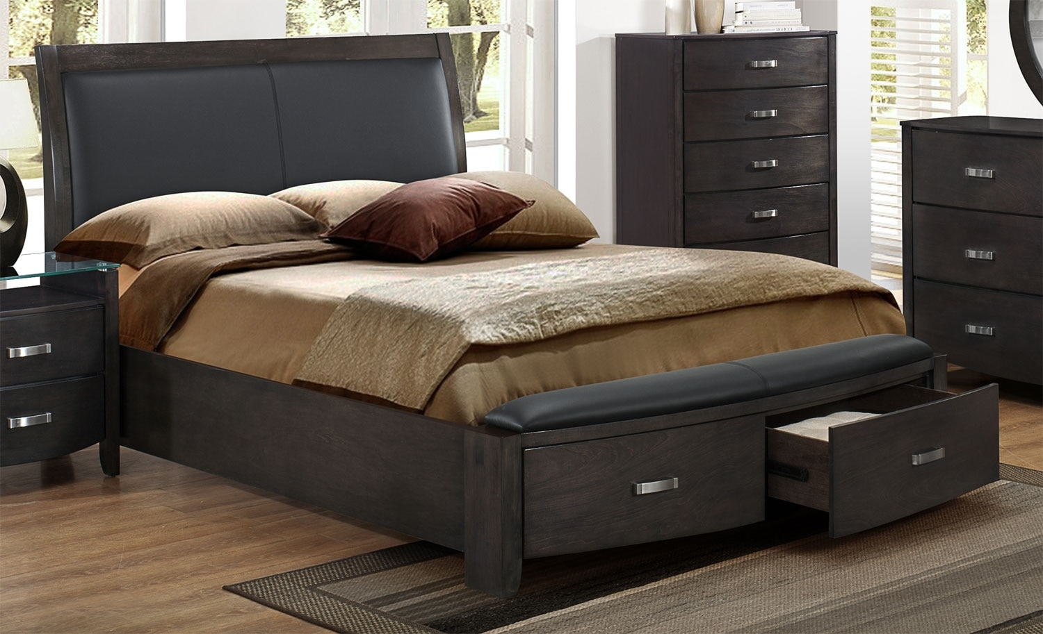 King Bed With Storage Canada Cinema King Bed Charcoal Leon 39s