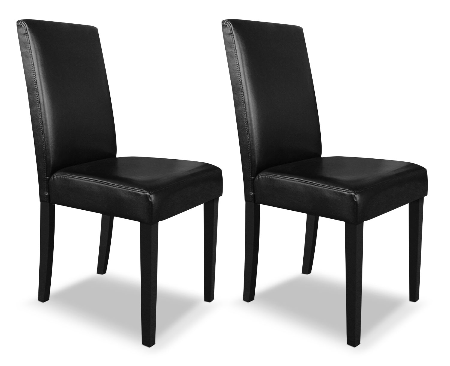 leather kitchen chairs Black Faux Leather Accent Dining Chair Set of 2