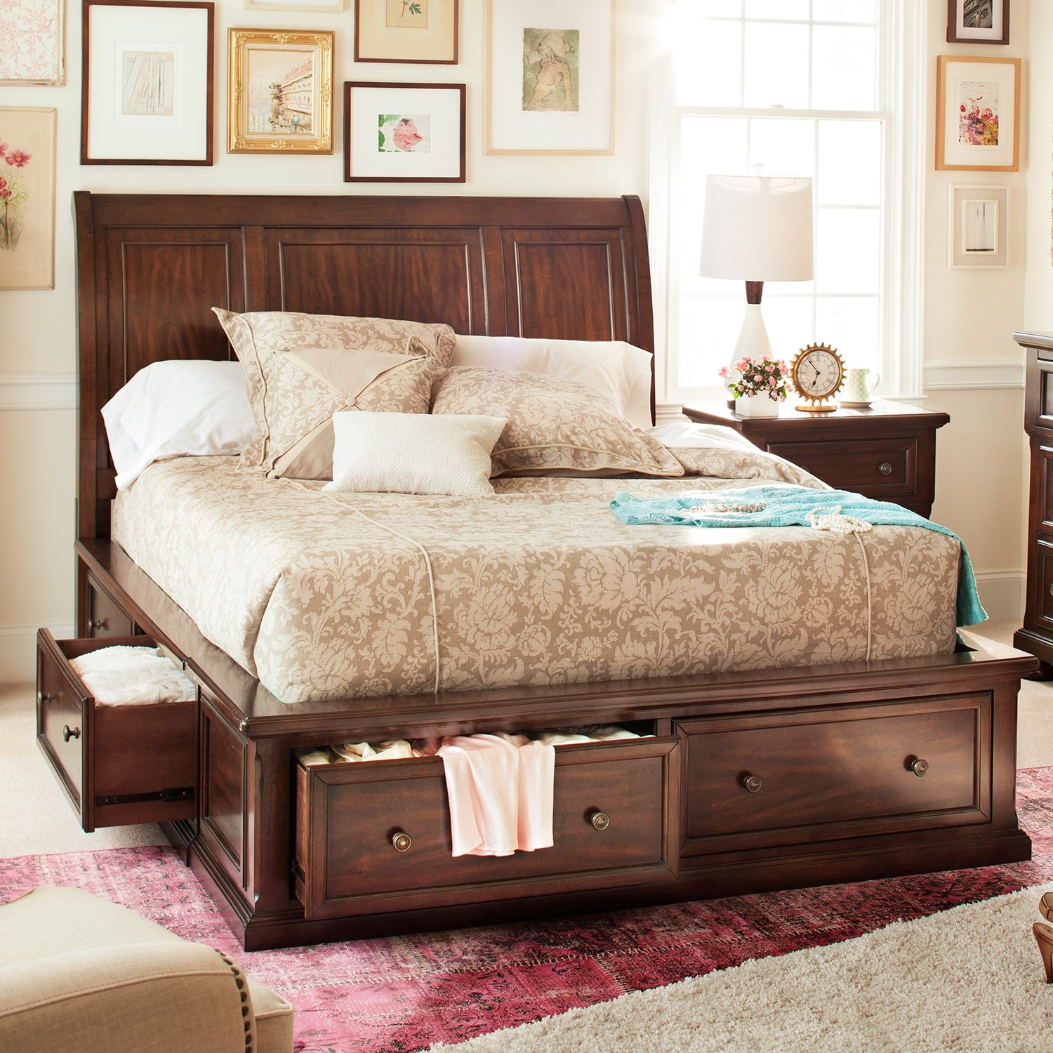 How Big Is A Queen Bed Hanover Queen Storage Bed Value City Furniture