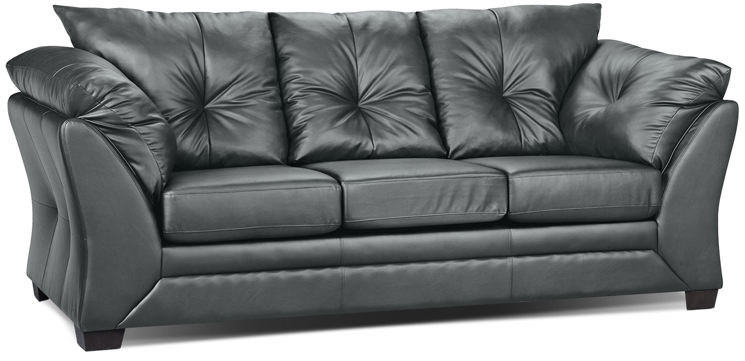 Kunstleder Couch Max Faux Leather Sofa - Grey | The Brick