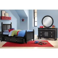 Seaside 6-Piece Full Bedroom Set with Trundle - Black ...