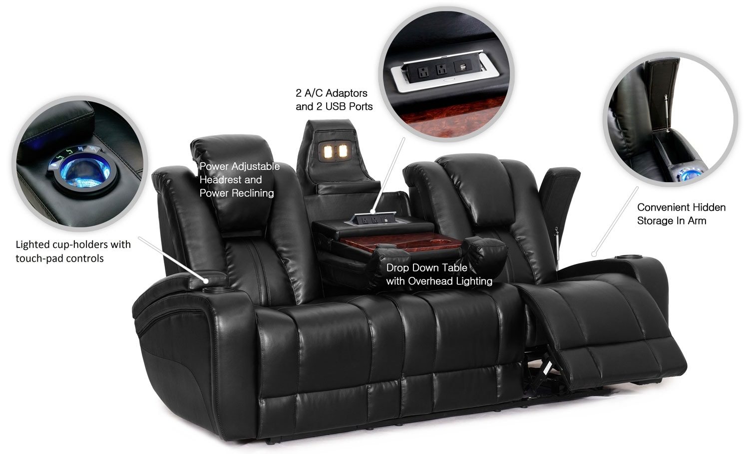 Recliners Winnipeg Zander Bonded Leather Power Reclining Sofa Black The Brick