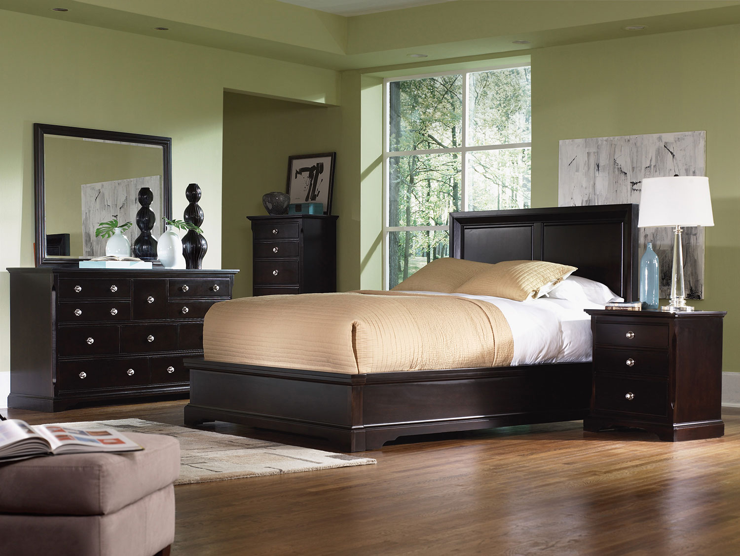 Georgetown 4 Piece King Bedroom Set Dark Merlot Levin