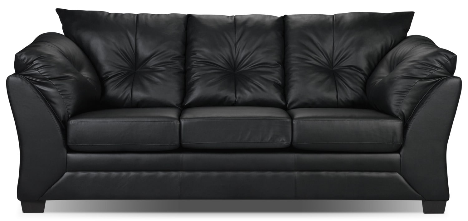 Kunstleder Couch Max Faux Leather Sofa - Black | The Brick