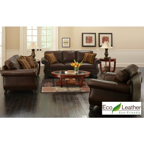 3 Piece Leather Living Room Set from The RoomPlace u2013 The RoomPlace - 3 piece living room sets