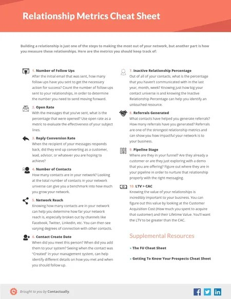 Contactually Downloadables - Relationship Metrics Cheat Sheet - how do you determine or evaluate success