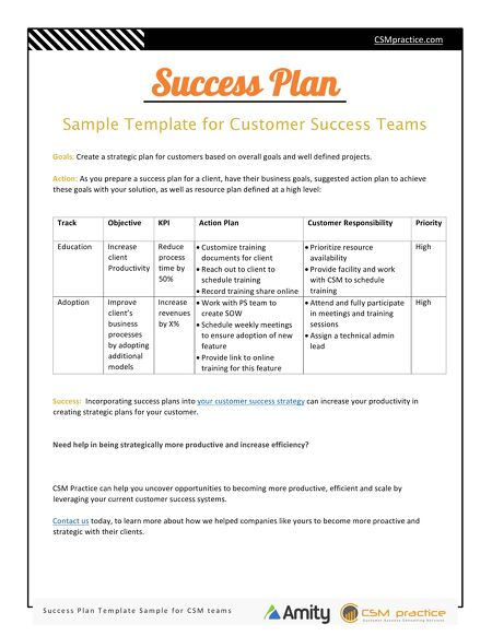 Customer Success Resources - Success Plan Template for Customer - strategic action plan template