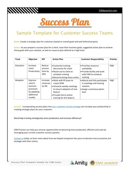 Customer Success Resources - Success Plan Template for Customer