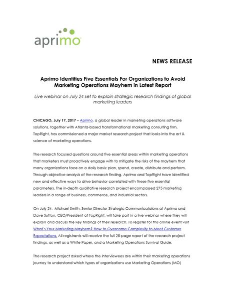 Aprimo Identifies Five Essentials to Avoid Marketing Operations - research project report