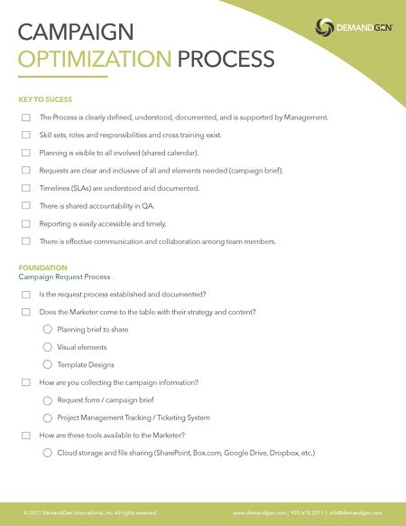 Campaign Process Optimization Checklist