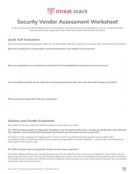 Security Vendor Assessment Threat Stack