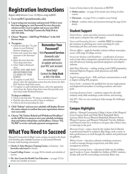 Howard Community College - Spring/Winter 2015 Credit Schedule - making schedules online