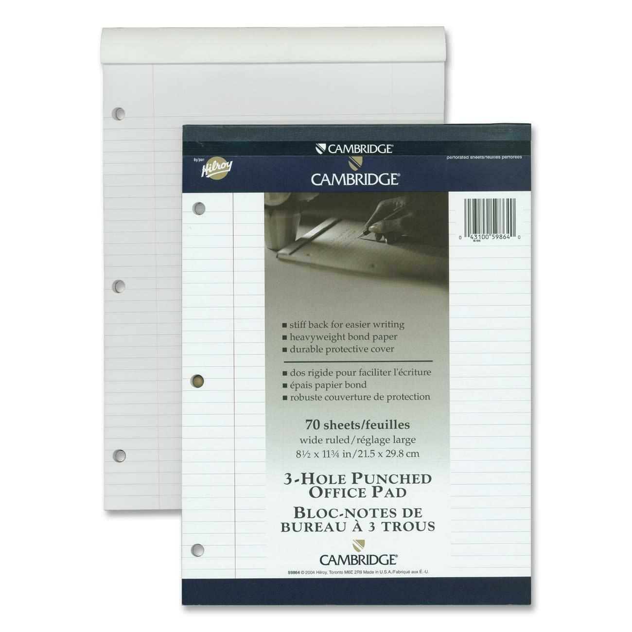 Bloc Note De Bureau Hilroy Cambridge Office Notepad 70 Sheets Wire Bound Ruled Ruled 20 Lb Basis Weight 8 1 2