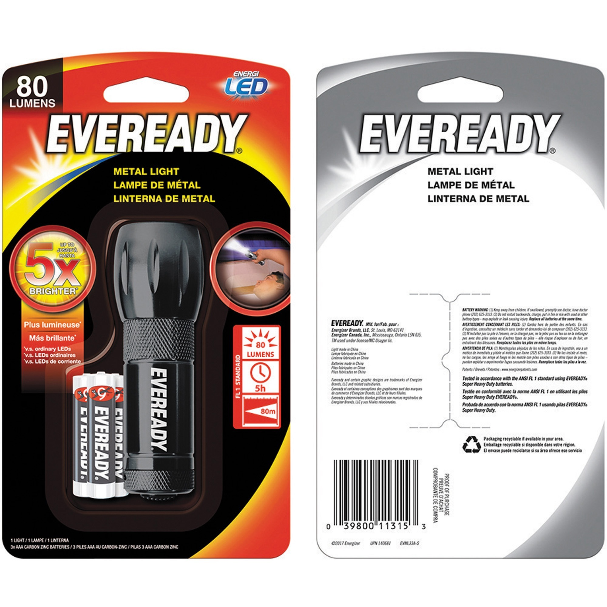 Achat Led Eveready Compact Led Metal Flashlight Aaa Metal Black