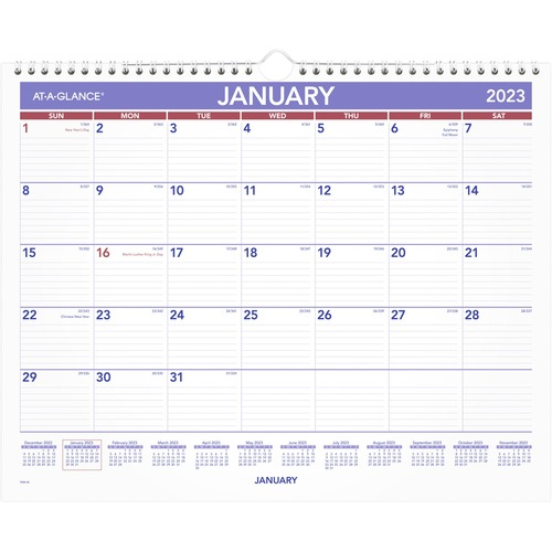 At-A-Glance Monthly Wall Calendar - Yes - Monthly - 1 Year - January