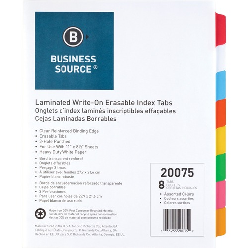 Business Source Laminated Write-On Tab Indexes - 8 Write-on Tab(s