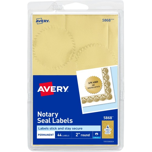 Avery Printable Gold Foil Notarial Seals --AVE05868