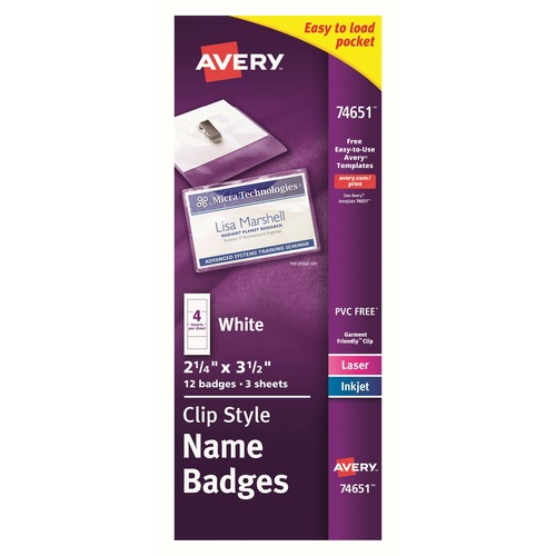Avery® Clip Style Name Badges - Plastic - 12 / Pack - Clear