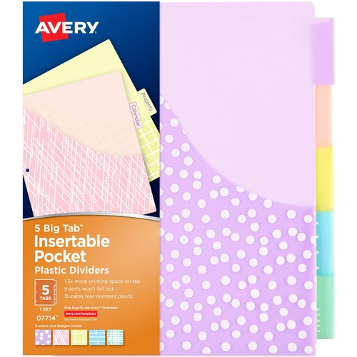 Avery® Big Tab Pocket Plastic Insertable Dividers - Student Designs