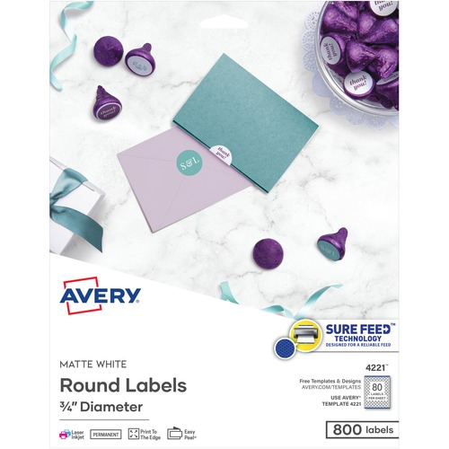 Avery® Textured White Print-to-the-Edge Scallop Round Labels