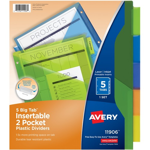Avery® Big Tab Plastic Insertable Dividers - 5 Print-on Tab(s) - 5