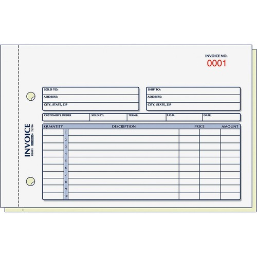 Rediform 2-Part Carbonless Invoice Form - 50 Sheet(s) - Stapled - 2