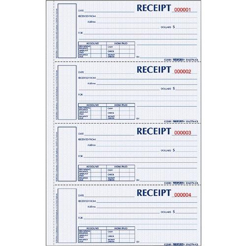 Rediform Hardbound Numbered Money Receipt Books - 300 Sheet(s) - 2