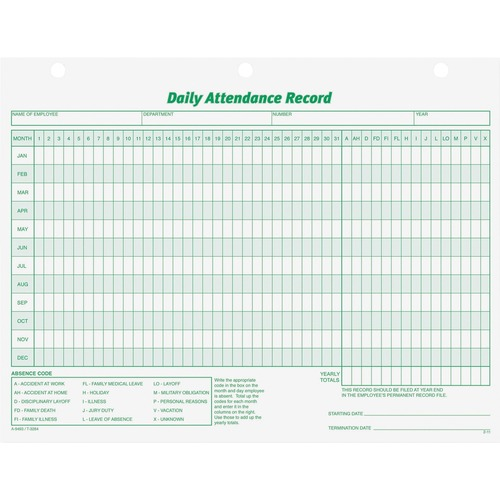 Personnel Forms - TOPS Daily Employee Attendance Record Form - 50