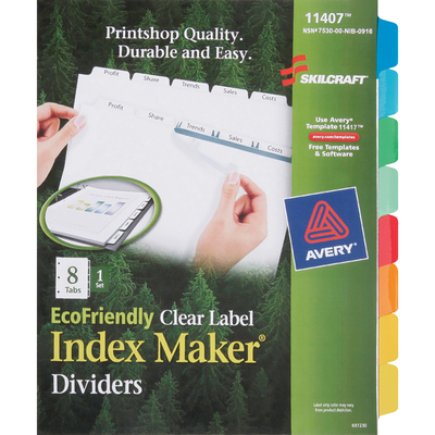 NSN6006970  SKILCRAFT® 7530016006970, Avery Index Dividers, 8-Tab