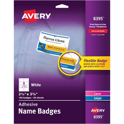 Avery® Flexible Adhesive Name Badge Labels - Yuletide Office Solutions