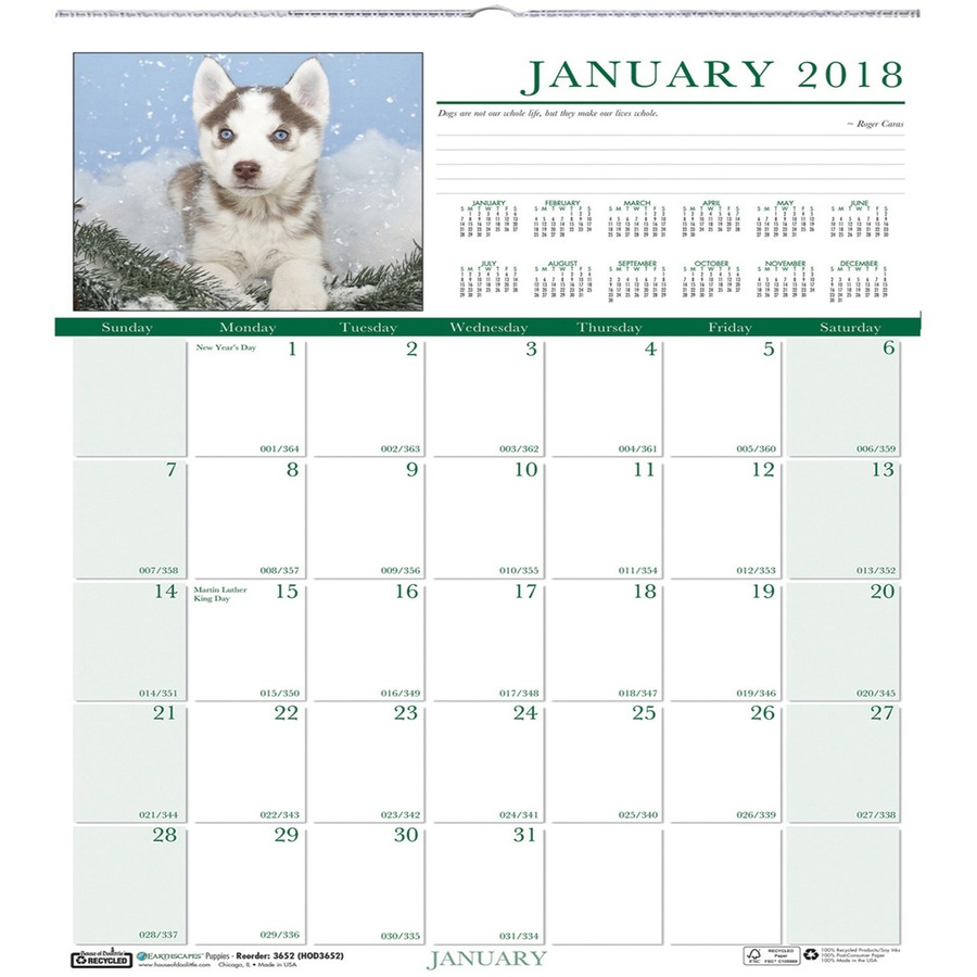 Wall Calendar With Julian Dates At A Glance Wall Calendar Staples Inc Doolittle Earthscapes Puppies Photo Calendars Hod3651
