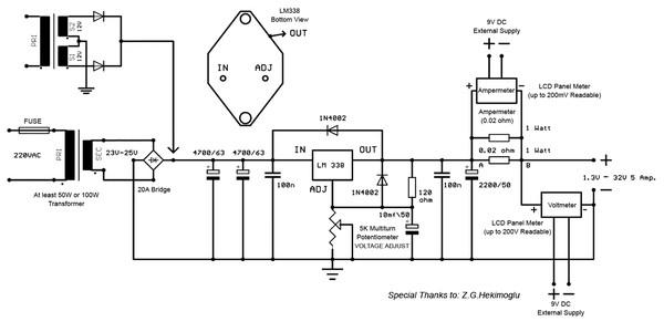 13v 5a adjustable regulator using lm338