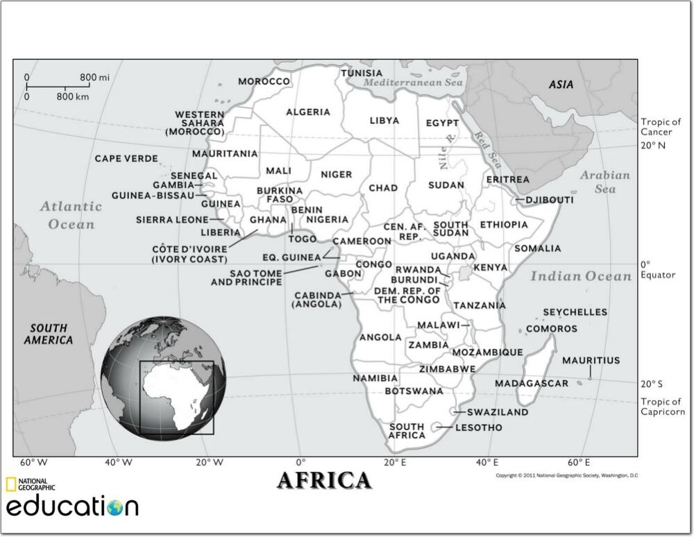 Mapa político de África Mapa de países y ciudades de África