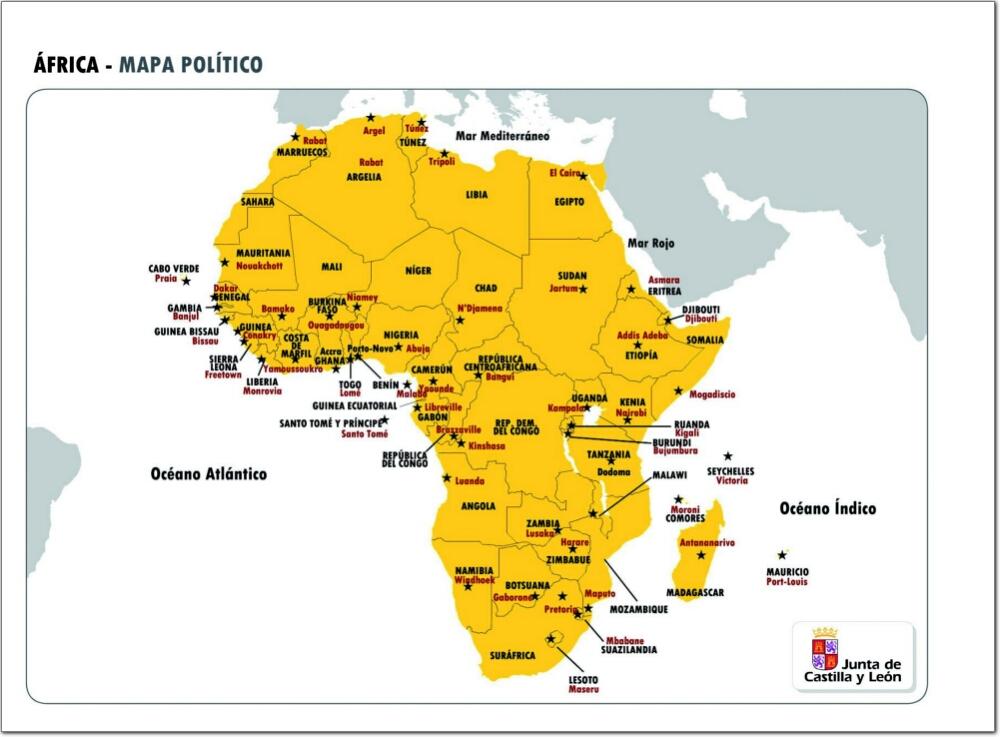Mapa político de África Mapa de países y capitales de África JCyL