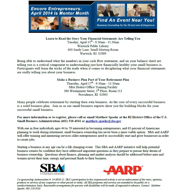 SBA and AARP Present Encore Entrepreneur Month Events Learn How to
