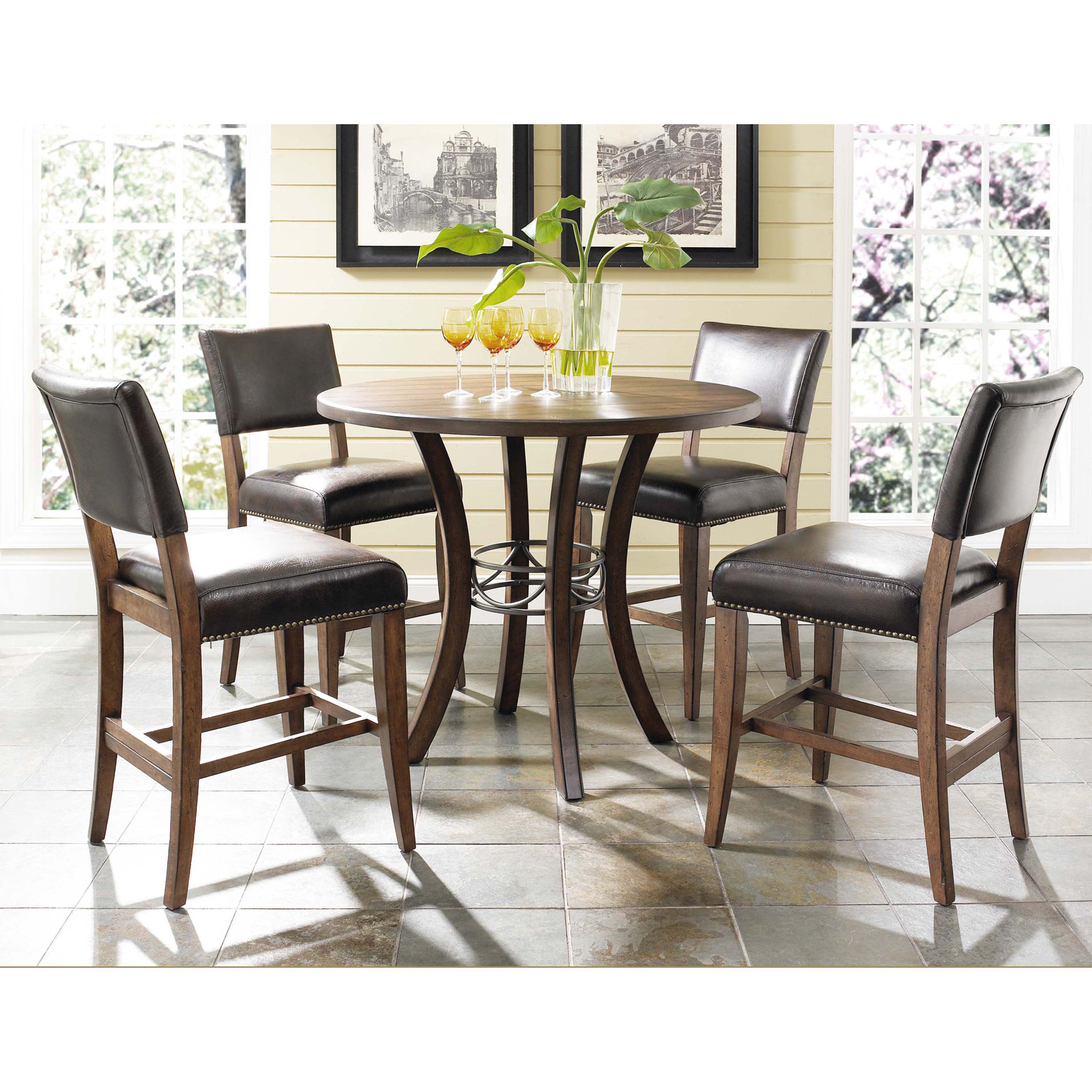 Hillsdale cameron 5 piece counter height round wood dining table set with parson chairs hayneedle