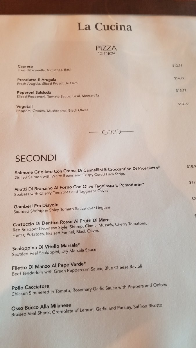 Norwegian Jewel La Cucina Menu La Cucina Pic Of New Menu Norwegian Cruise Line Cruise