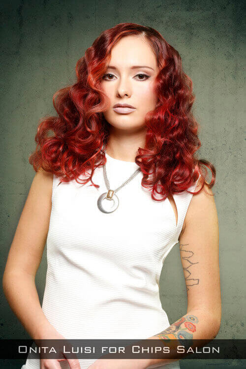 Medium Hairstyle with Classic Waves and Red Hue
