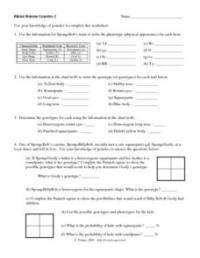 Bikini Bottom Genetics 2 6th - 8th Grade Worksheet ...