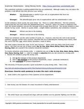 Grammar Worksheets Using Strong Verbs 7th 9th Grade