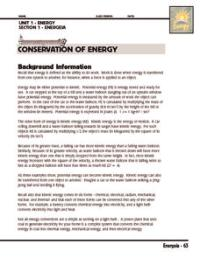 Investigation: Conservation of Energy 5th - 8th Grade ...