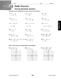 Systems Of Linear And Quadratic Equations Worksheet Photos ...