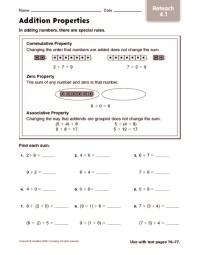 3rd Grade  Commutative Property Of Addition Worksheets ...