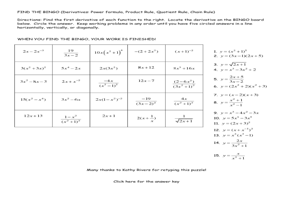 Basic Derivatives Worksheet Worksheets for all | Download and ...