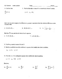 Arithmetic And Geometric Sequences Worksheet 8th Grade ...