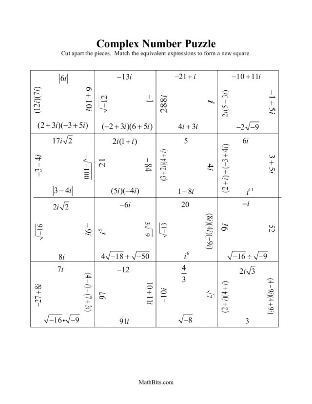 Simplify Radical Imaginary Number Worksheet - simplify radical ...