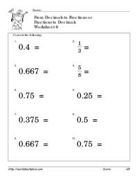 Number Names Worksheets  Decimal To Fractions Worksheet ...